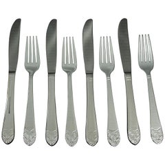 2016 NYC Waldorf Astoria Hotel 8 Piece Set of New Art Deco Dinner Knives & Forks