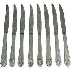2016 NYC Waldorf Astoria Hotel 8 Piece Silver Plated Art Deco Steak Knife Set