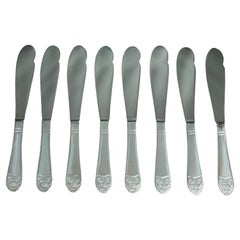 2016 NYC Waldorf Astoria Hotel Silver Plated Art Deco Eight Fish Knife Set