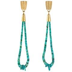 2016 Sonwai, Turquoise Heishi Bead and Gold Jacla Earrings