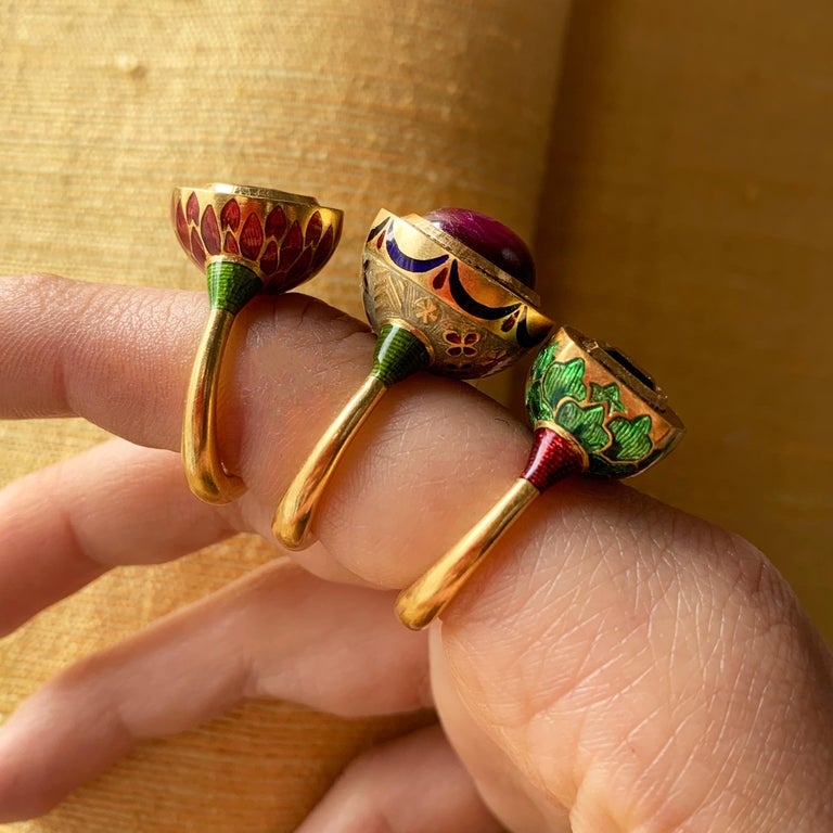 A bi-colored blue/green tourmaline, vitreous enamel, and 22 karat gold Jodhpur Miniature Leaf ring, by Alice Cicolini, 2017.  Ring size 6 1/4. This ring can be sized.