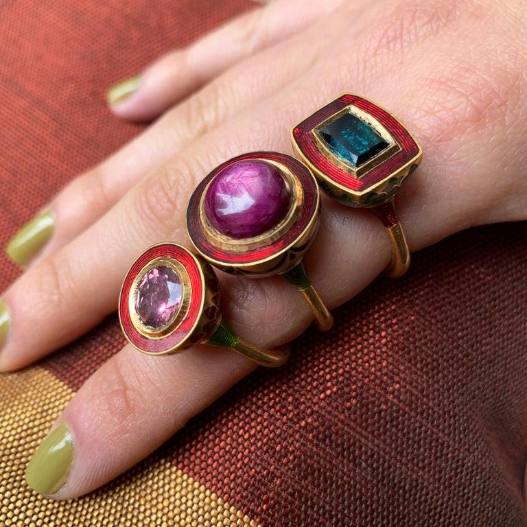 Contemporary 2017 Alice Cicolini Tourmaline, Gold and Enamel Jodhpur Miniature Leaf Ring For Sale