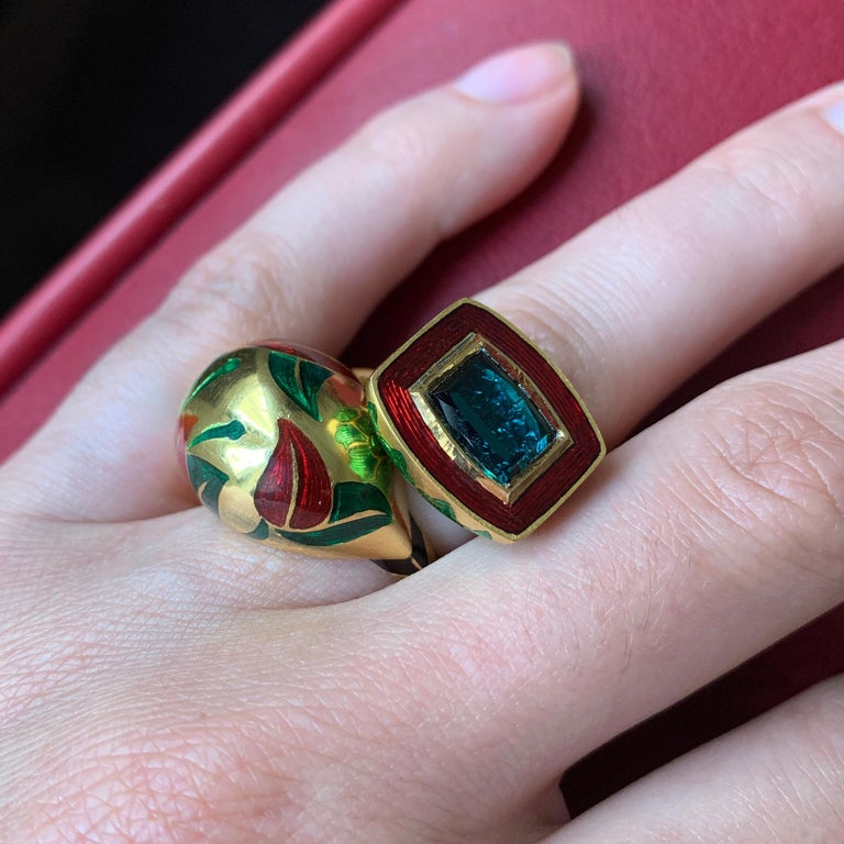 2017 Alice Cicolini Tourmaline, Gold and Enamel Jodhpur Miniature Leaf Ring In Excellent Condition For Sale In New York, NY