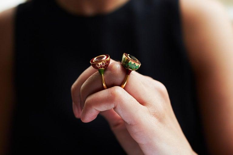 Women's or Men's 2017 Alice Cicolini Tourmaline, Gold and Enamel Jodhpur Miniature Leaf Ring For Sale