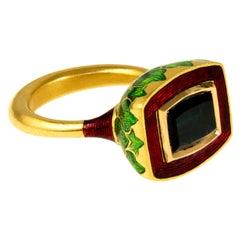 2017 Alice Cicolini Tourmaline, Gold and Enamel Jodhpur Miniature Leaf Ring