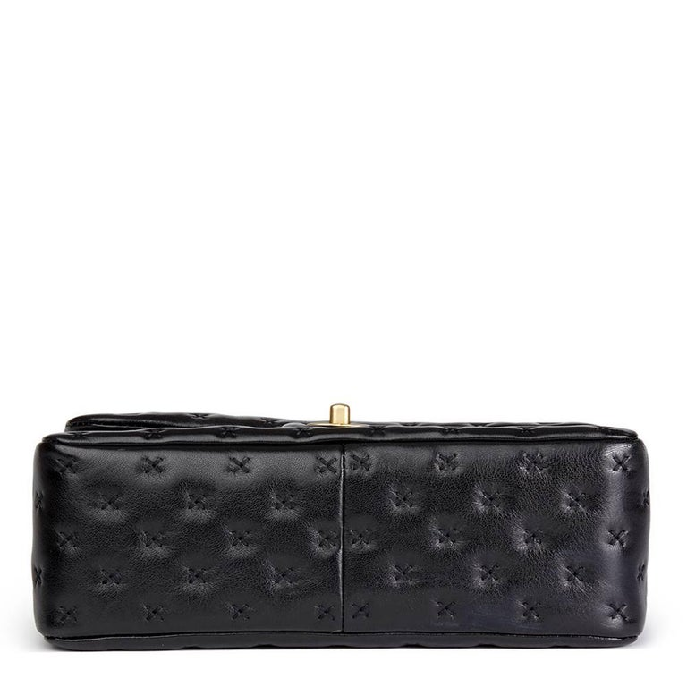 b1b86c0f8f 2017 Chanel Black Cross Stitch Quilted Lambskin Coco Handle Flap Bag For  Sale 1