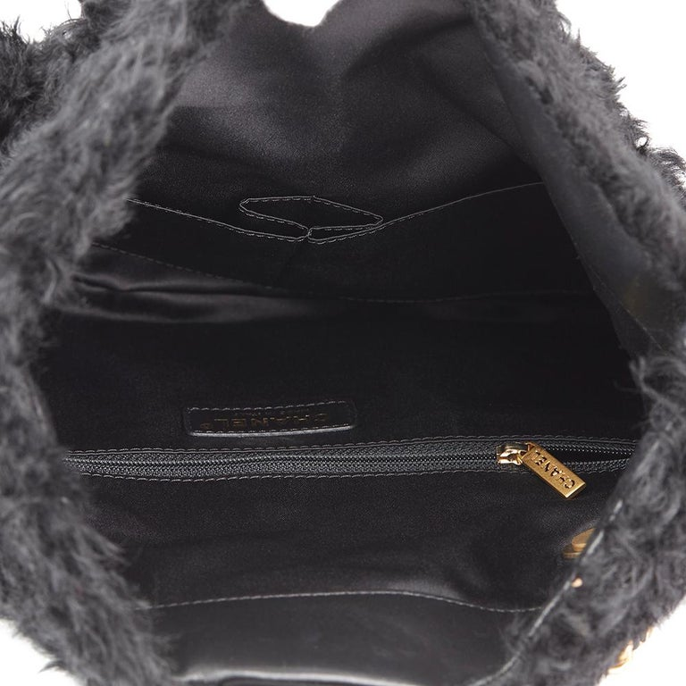eddf2b2a6d5c 2017 Chanel Black Fantasy Fur Classic Foldover Flap Bag at 1stdibs