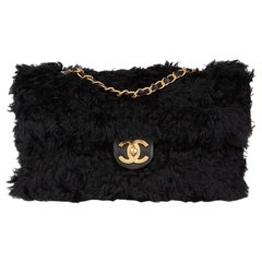 2017 Chanel Black Fantasy Fur Classic Foldover Flap Bag