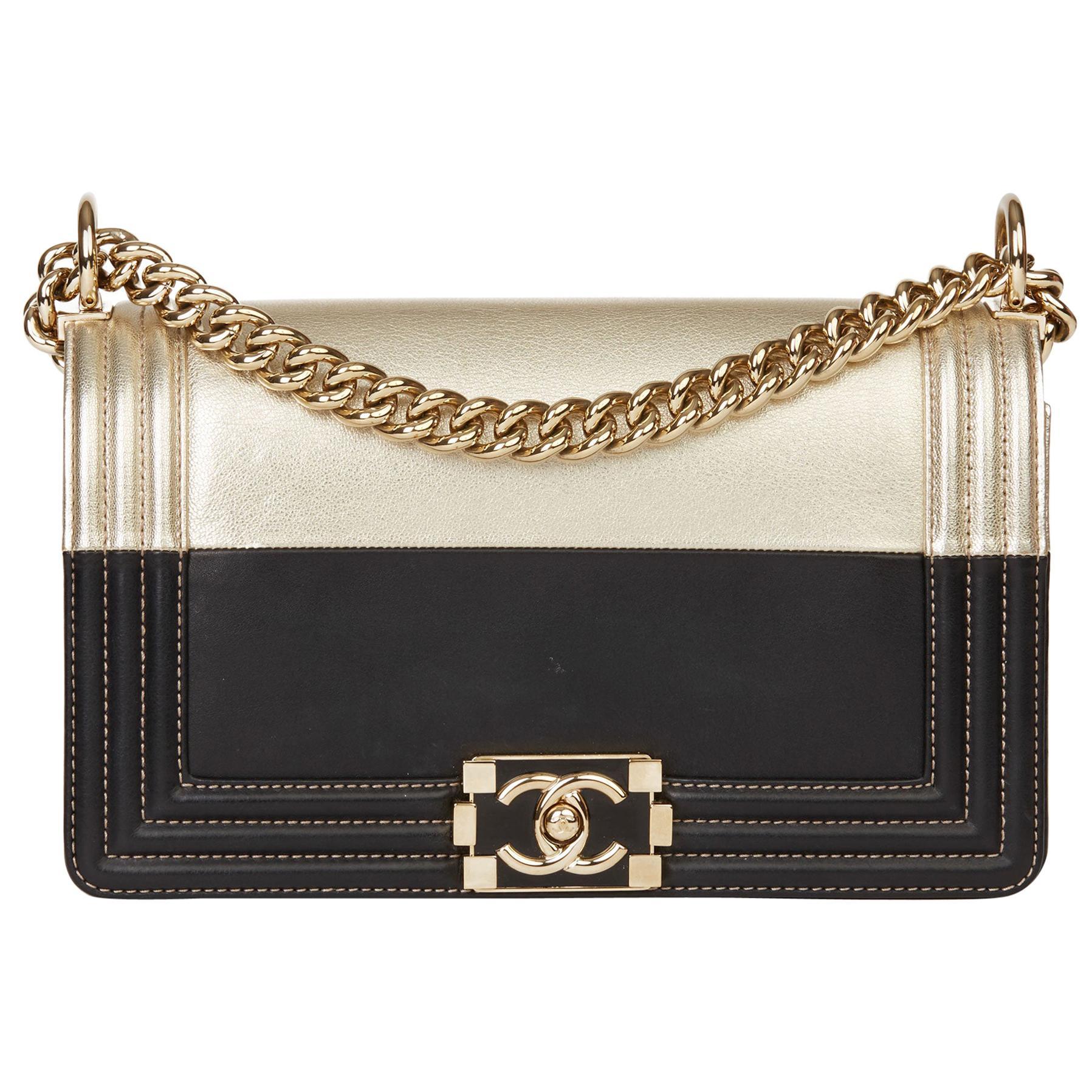 2017 Chanel Black Lambskin & Gold Chevre Goatskin Leather Le Boy