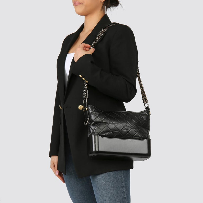 2017 Chanel Black Quilted Aged Calfskin Leather Gabrielle Hobo Bag For Sale 8