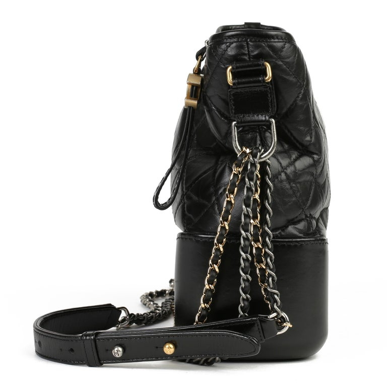 CHANEL Black Quilted Aged Calfskin Leather Gabrielle Hobo Bag  Xupes Reference: CB254 Serial Number: 24036029 Age (Circa): 2017 Accompanied By: Chanel Dust Bag, Authenticity Card Authenticity Details: Authenticity Card, Serial Sticker (Made in