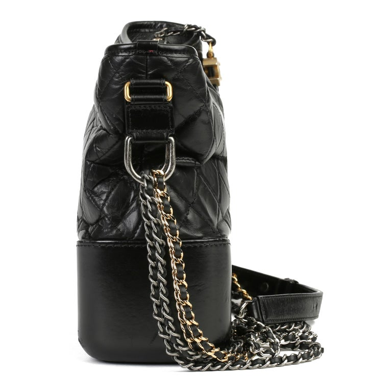 2017 Chanel Black Quilted Aged Calfskin Leather Gabrielle Hobo Bag In Excellent Condition For Sale In Bishop's Stortford, Hertfordshire