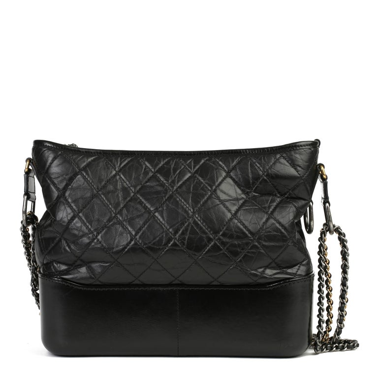 Women's 2017 Chanel Black Quilted Aged Calfskin Leather Gabrielle Hobo Bag For Sale