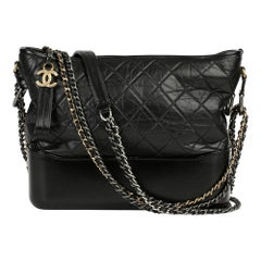 2017 Chanel Black Quilted Aged Calfskin Leather Gabrielle Hobo Bag