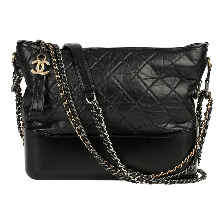 2017 Chanel Black Quilted Aged Calfskin Leather Gabrielle Hobo Bag For Sale