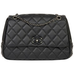 2017 Chanel Black Quilted Calfskin Leather Medium Frame in Chain Flap Bag