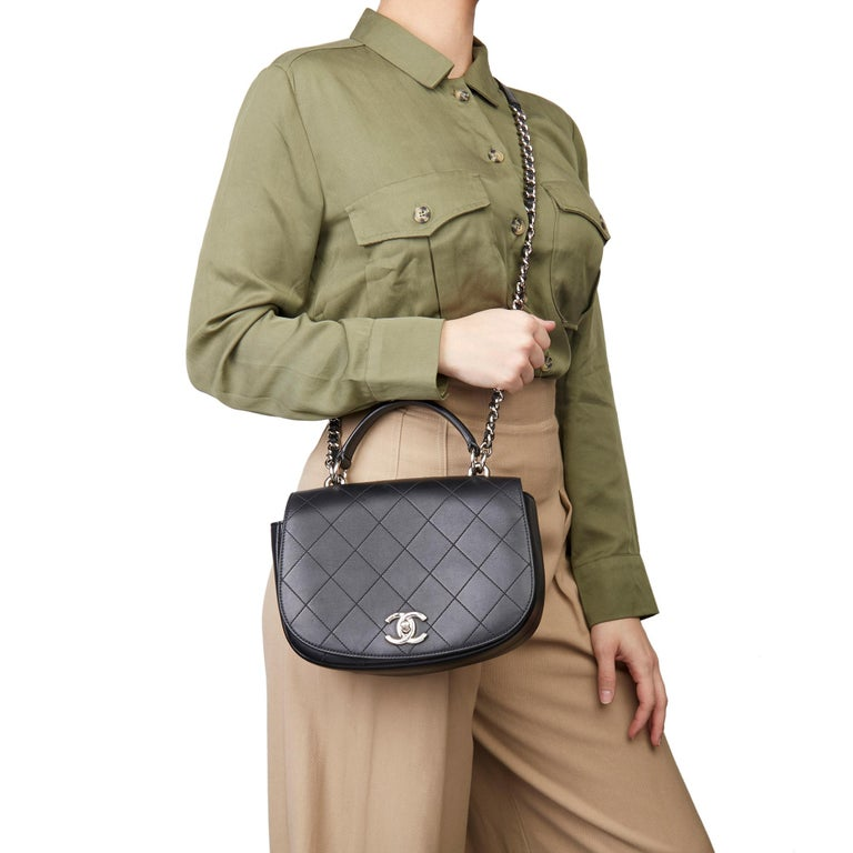 2017 Chanel Black Quilted Calfskin Leather Ring My Bag Flap Bag For Sale 7