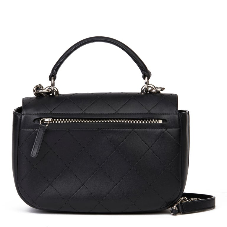 Women's 2017 Chanel Black Quilted Calfskin Leather Ring My Bag Flap Bag For Sale