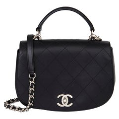2017 Chanel Black Quilted Calfskin Leather Ring My Bag Flap Bag