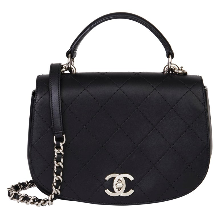 2017 Chanel Black Quilted Calfskin Leather Ring My Bag Flap Bag For Sale