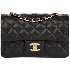 2017 Chanel Black Quilted Lambskin Rectangular Mini Flap Bag