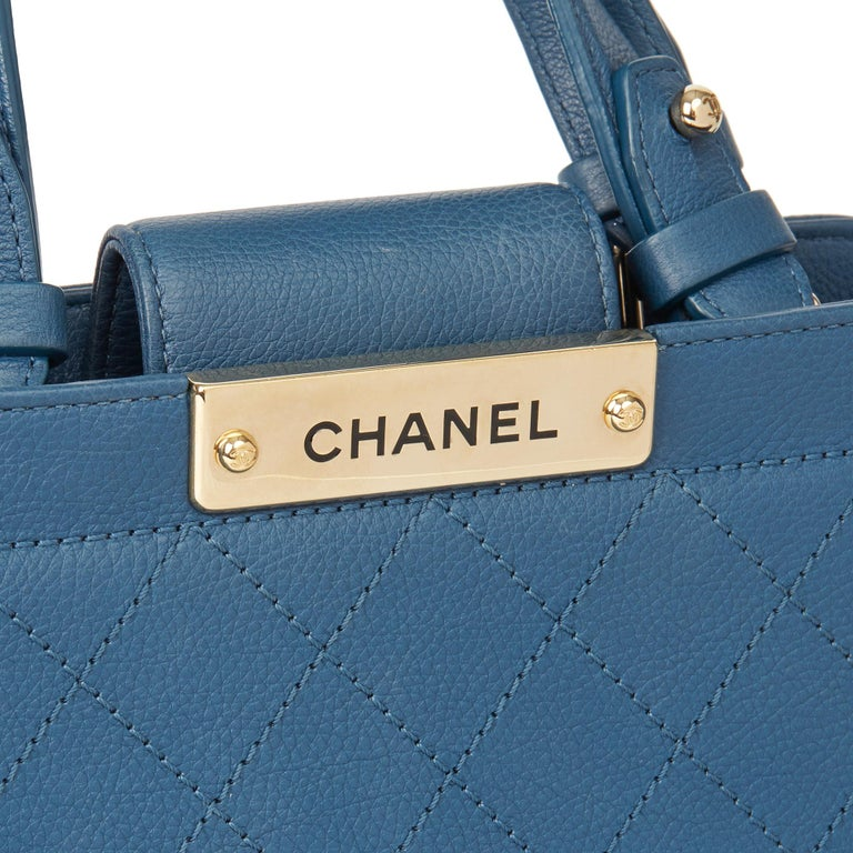 2017 Chanel Blue Quilted Calfskin Leather Small Label Click Shopping Tote For Sale 2