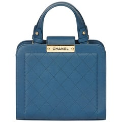 2017 Chanel Blue Quilted Calfskin Leather Small Label Click Shopping Tote