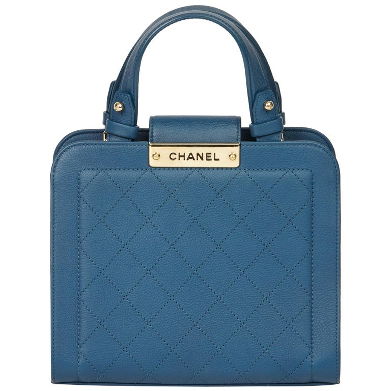 2017 Chanel Blue Quilted Calfskin Leather Small Label Click Shopping Tote For Sale