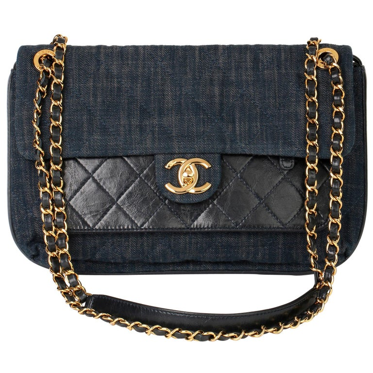 2017 Chanel Blue Quilted Denim & Blue Calfskin Leather Single Flap Bag  For Sale