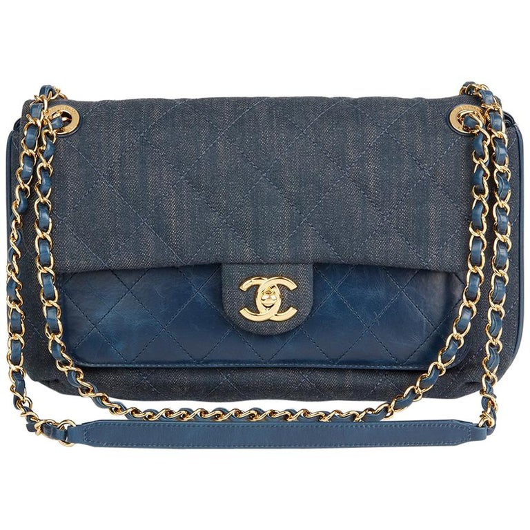 2017 Chanel Blue Quilted Denim And