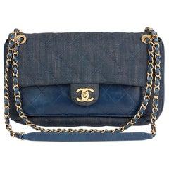 2017 Chanel Blue Quilted Denim & Blue Calfskin Leather Single Flap Bag