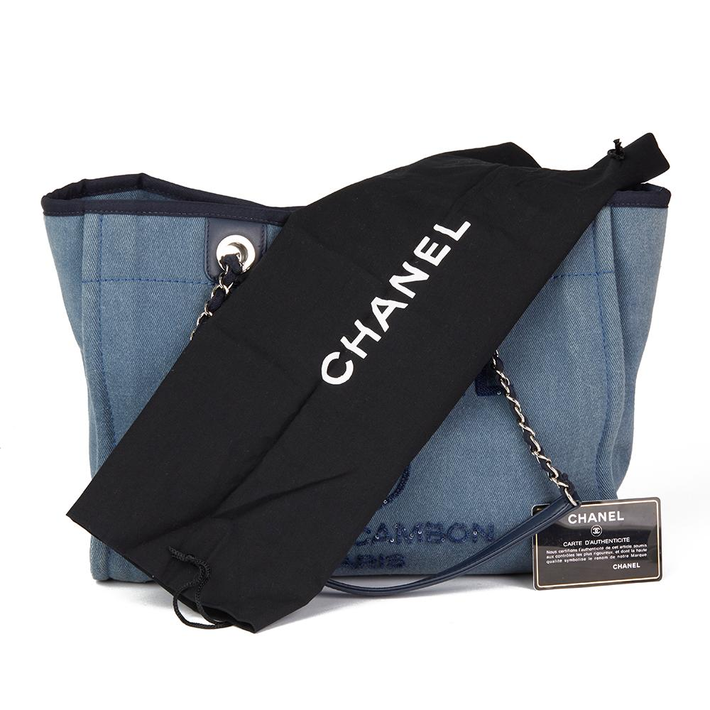 f9564202a6a0 2017 Chanel Blue Sequin Embellished Denim Small Deauville Tote at 1stdibs