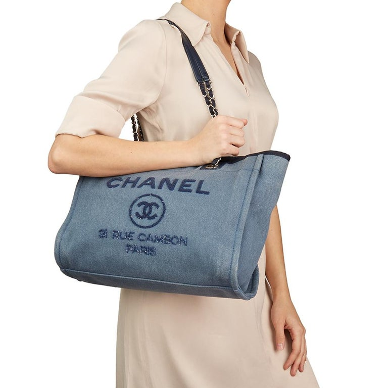 04505ea4de21 2017 Chanel Blue Sequin Embellished Denim Small Deauville Tote For Sale 7