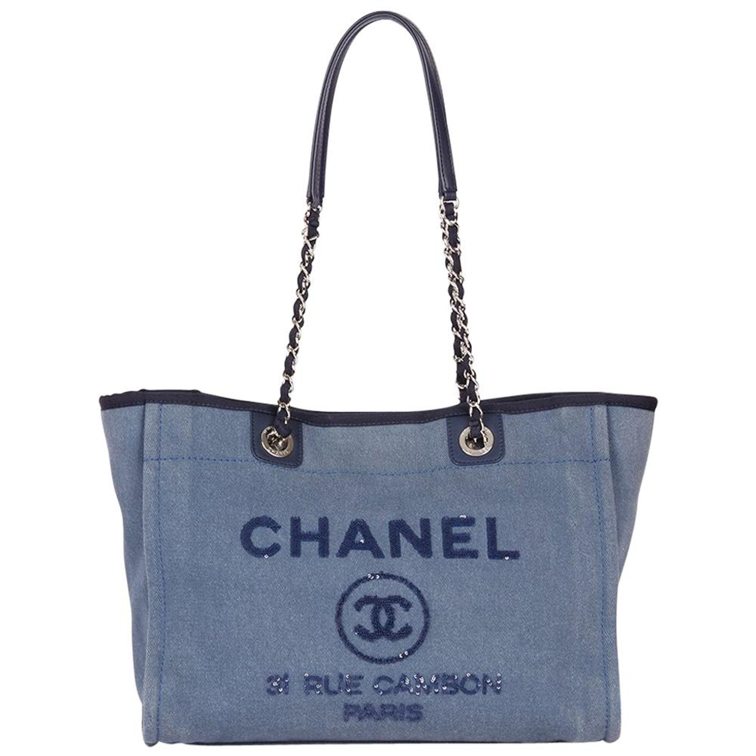 109469c2e86b 2017 Chanel Blue Sequin Embellished Denim Small Deauville Tote at 1stdibs