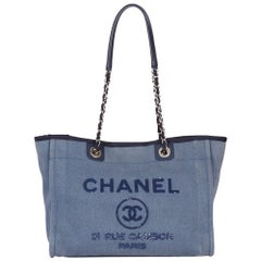 2017 Chanel Blue Sequin Embellished Denim Small Deauville Tote