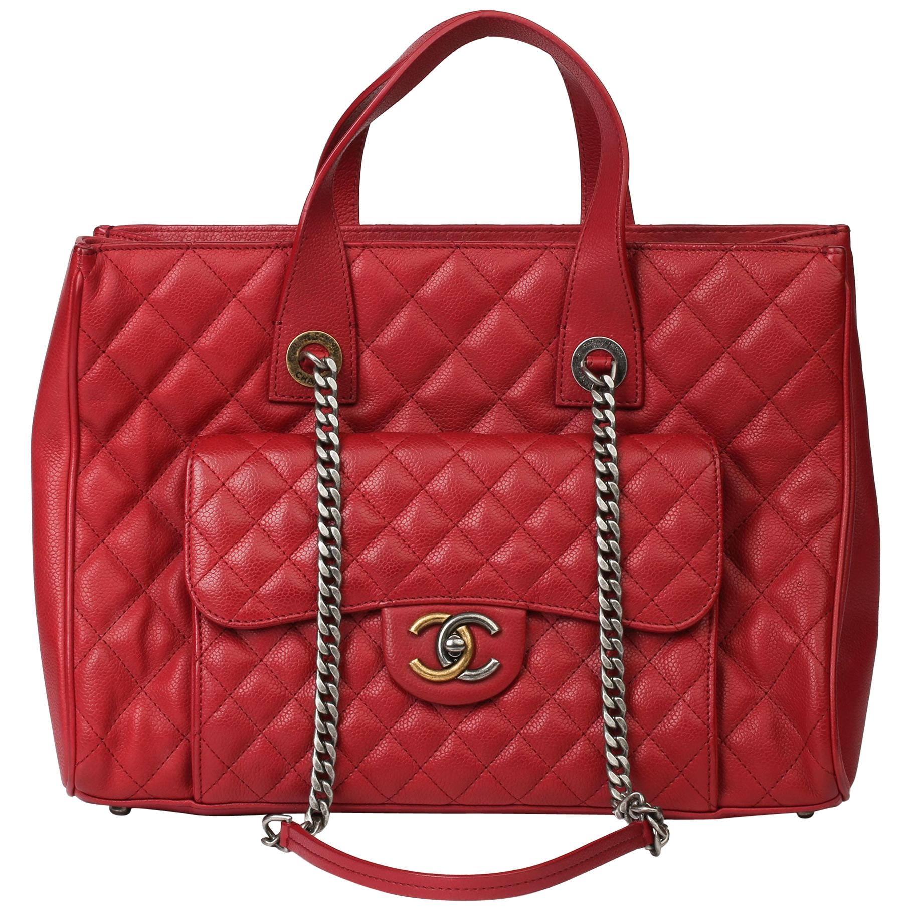 2017 Chanel Burgundy Quilted Caviar Leather Timeless Shoulder Tote