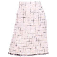 2017 Chanel Cream Lesage Tweed Robot Collection Skirt w Metallic Gold & Silver