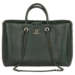 2017 Chanel Dark Green Python Leather Shopping Tote