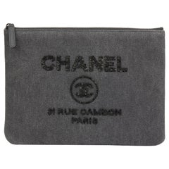 2017 Chanel Grey Denim Sequin Embellished Deauville Small O Case