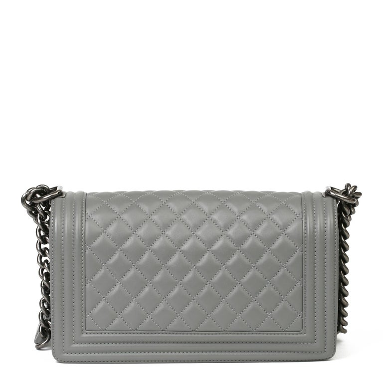 Women's 2017 Chanel Grey Quilted Lambskin Medium Le Boy Bag