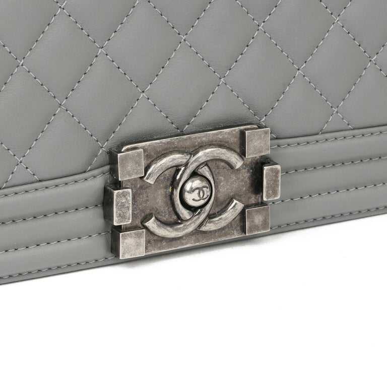2017 Chanel Grey Quilted Lambskin Medium Le Boy Bag  2