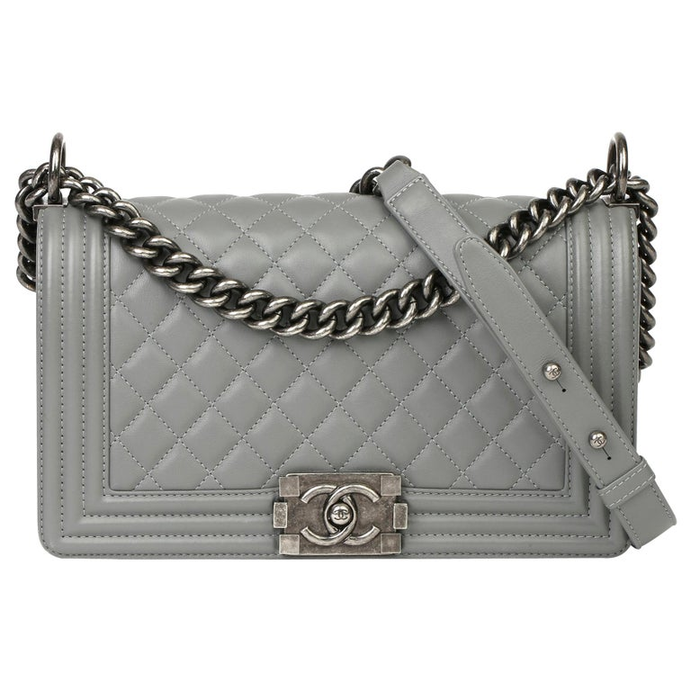 2017 Chanel Grey Quilted Lambskin Medium Le Boy Bag