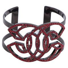 2017 Chanel Gunmetal & Red CC Rhinestone Cuff Bracelet
