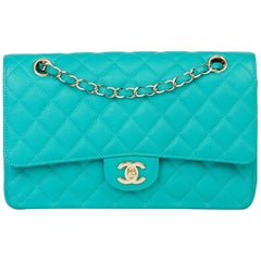 2017 Chanel Turquoise Quilted Caviar Leather Medium Classic Double Flap Bag