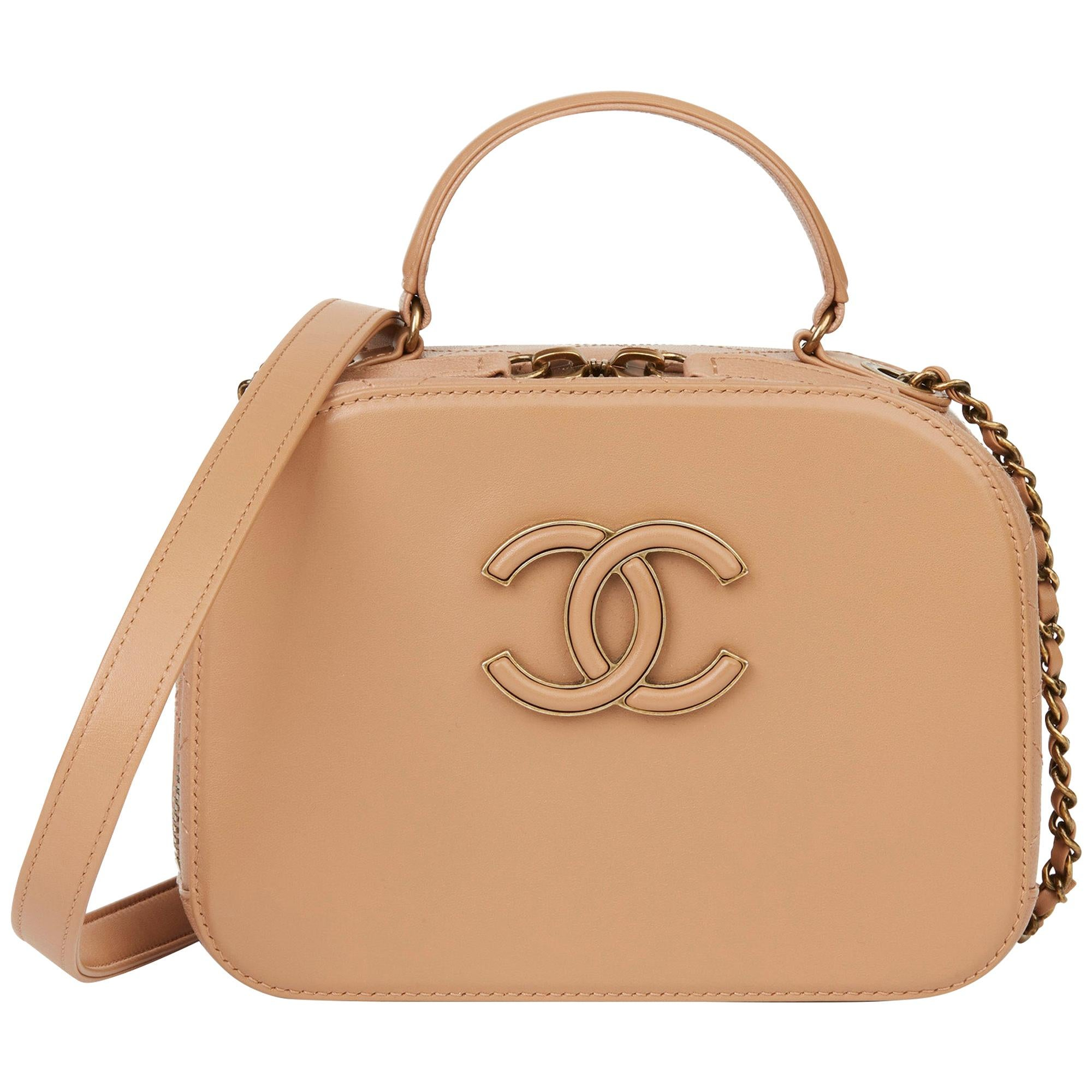 2017 Chanel Warm Beige Lambskin & Quilted Goatskin Small Coco Curve Vanity Bag