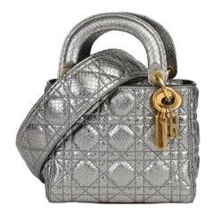 2017 Christian Dior Gunmetal Quilted Metallic Python Leather Mini Lady Dior
