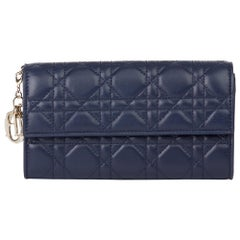 2017 Christian Dior Navy Quilted Lambskin Lady Dior Long Wallet