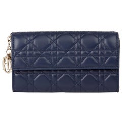 2017 Christian Dior Navy Quilted Lambskin Lady Dior Wallet