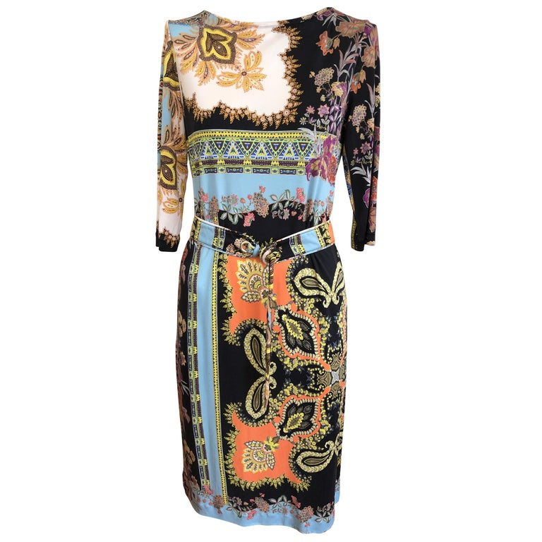 2017 ETRO  Silk Dress with Belt (42 ITL) For Sale