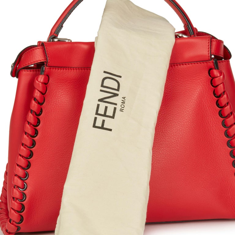 2017 Fendi Red Smooth Calfskin Leather Whipstitch Regular Peekaboo 7